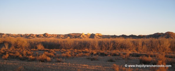 Turret Buttes at sunset evening