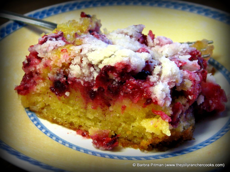 A slice of Gluten Free Cranberry Crumb Cake