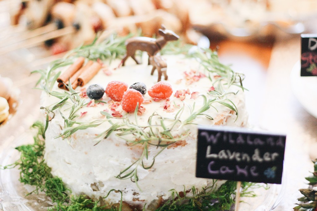 woodland themed baby shower lavender cake