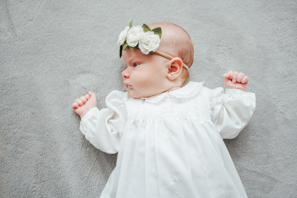 LDS baby blessing flower crown headband