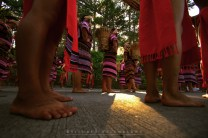 """14: Men and women from Benguet in their full traditional Igorot costumes are all seen bare footed as they prepare for the start of the grand parade during Baguio City's """"Panagbenga"""" or Flower Festival."""