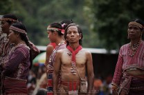 """22: Indigenous folks, in their full traditional garb, of the Ga'dang ethnic group from Paracelis, Mountain Province awaits their turn to present their cultural presentation during the Lang-ay Festival held in Bontoc, Mountain Province. The word """"Lang-ay"""" means sharing or getting together and sharing of food, which it's an Igorot culture that includes butchering of animals (mostly pigs) and is subject to a native traditional rituals."""