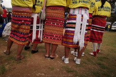 Indigenous women in their Cordilleran tapis are seen supporting a senatorial candidate during an election campaign at the Baguio City's Melvin Jones grand stand.