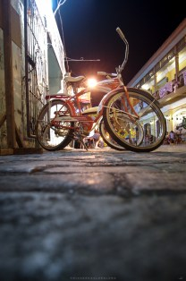 Classic themed bicycles are seen parked along the cobble-stoned streets of the historic Spanish-era community of Vigan City in Ilocos Sur.