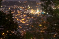 The city lights of Baguio, Philippines, during twilight.