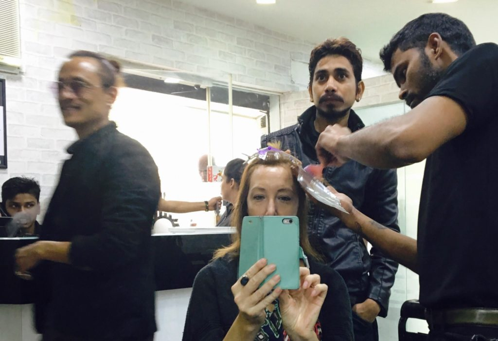 Getting my hair done in India