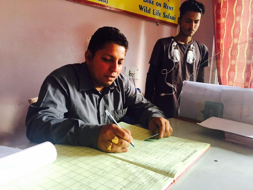 Signing paperwork at reception