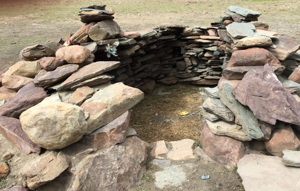 The start of a stone home that we found on our hike
