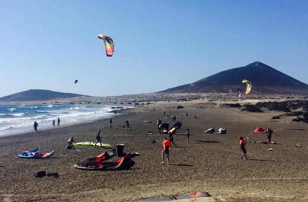 Kite-boarders enjoying the sunny day