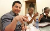 Kenichi Serino schooling us on how to use chopsticks