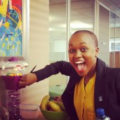 Shandu having the time of her life with a gum ball machine at RMB. We were there for an interview with TCA chairman Erwin Pon. Photo: Pheladi Sethusa
