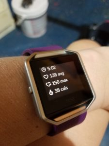 Fitbit Blaze data after rowing machine workout