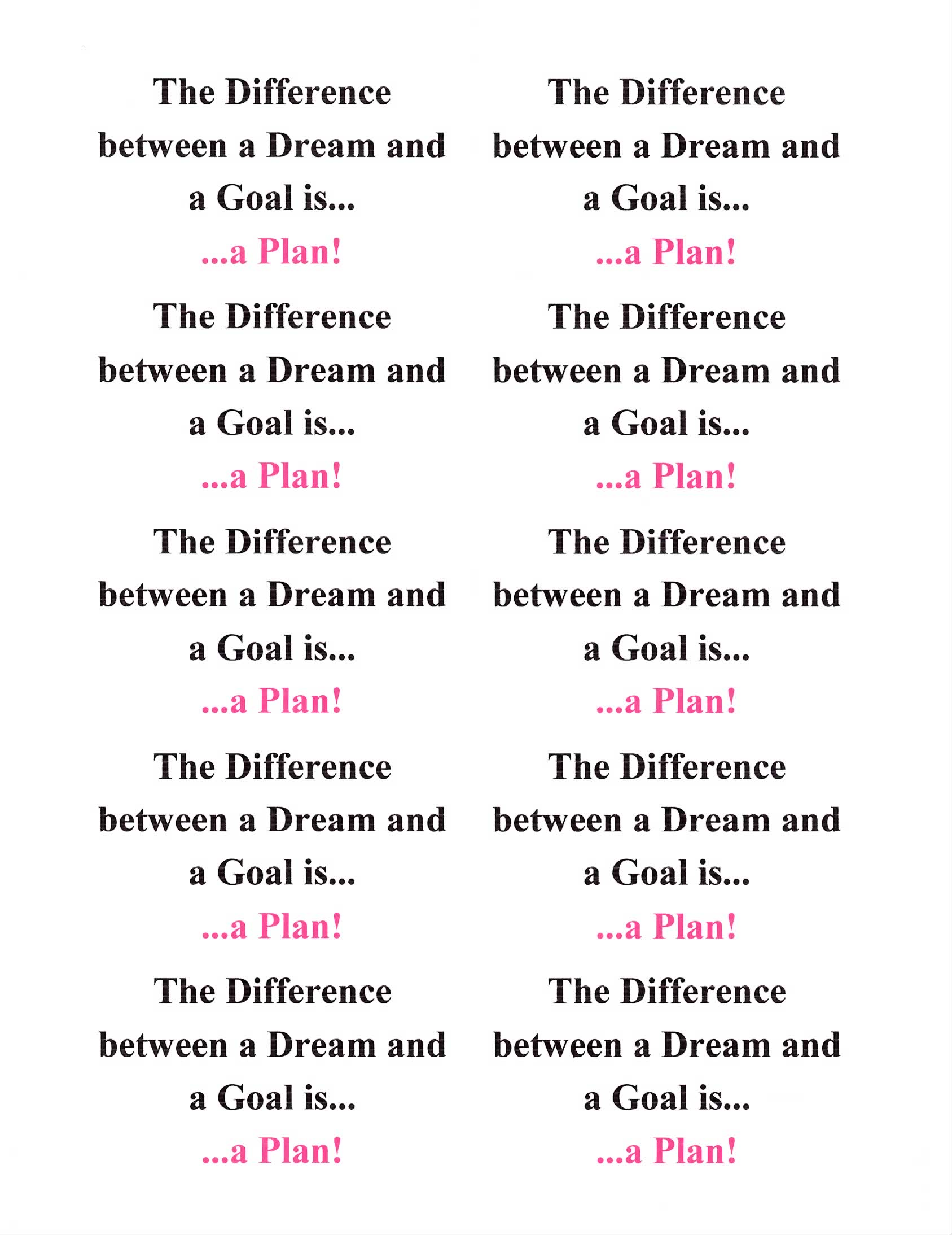 The Difference Between A Dream And A Goal Is A Plan