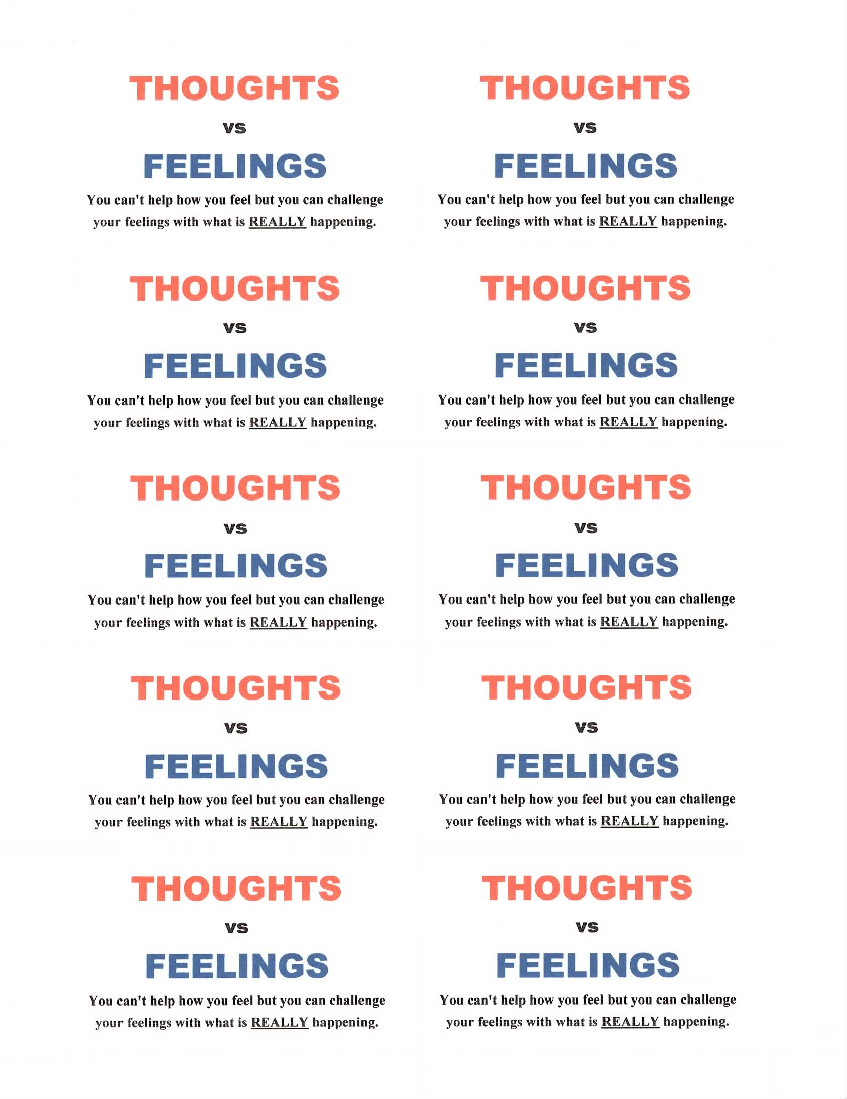 Thought Vs Feelings