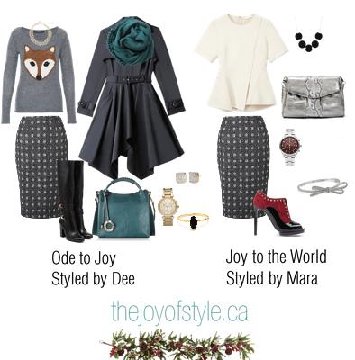 One Item, Two Stylists - Polka Dot Pencil Skirt