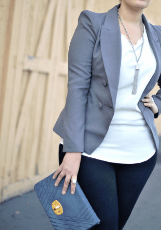 Blazer with untucked blouse