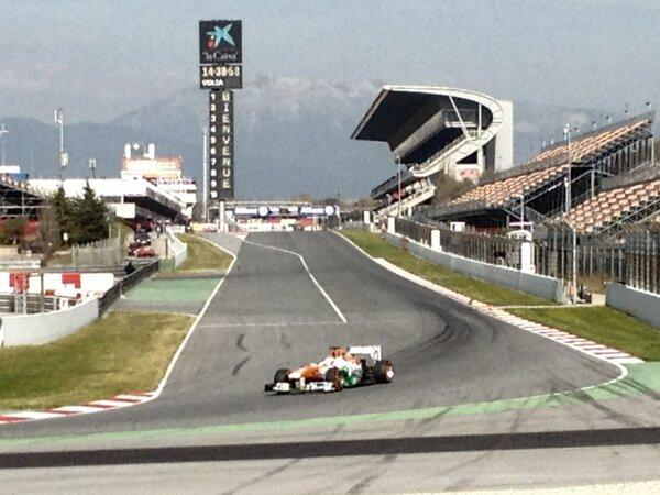 Force India following Di Resta around the corcuit