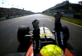 Mark Webber celebrates 5th palce