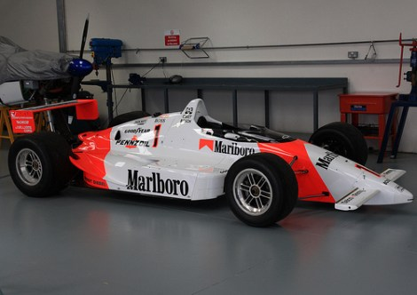 The iconic red/white livery survived a few years longer than in F1 on Roger Penske's Indy cars