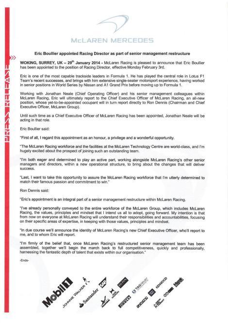 McLaren Press Release