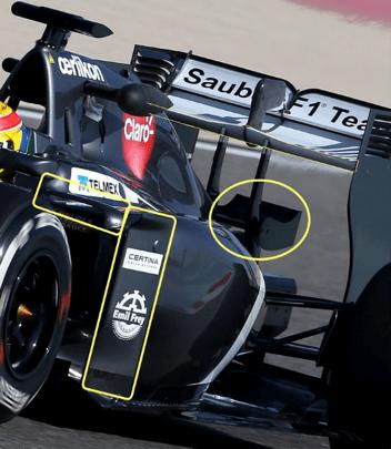 Sauber C33 Side pods vanes & monkey seat