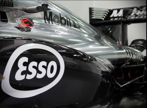 The MP4-29 sporting Esso  sidepods for this Grand Prix