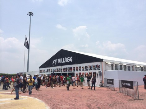 The F1 village which proved to be the only place to buy merchandise (and offer a choice of food)