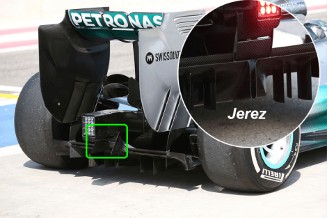 Picture 4 - Mercedes W05 rear diffuser comparison