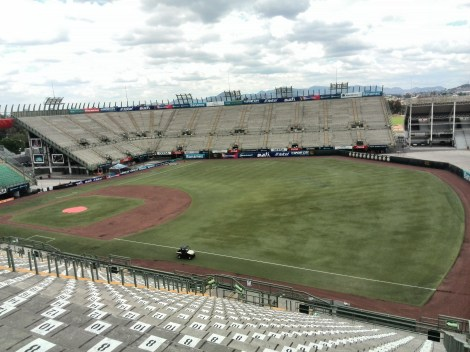 The Foro Sol baseball stadium, which will see the cars pass through it, right to left, under the proposed track layout