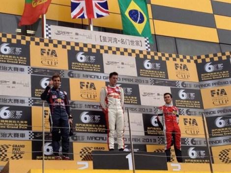 Alex Lynn on the podium for his 2013 Macau GP victory