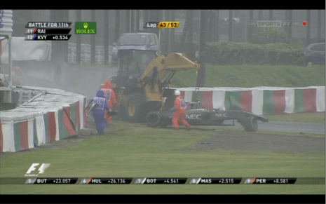 Camera 12. Marshals hurrying to Jules. Sutil's car grounded