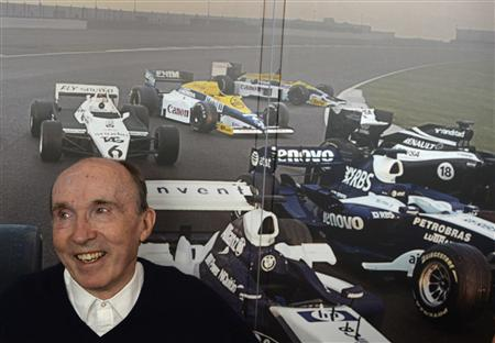 Williams Formula One team founder Williams poses during a party at the Silverstone Race circuit