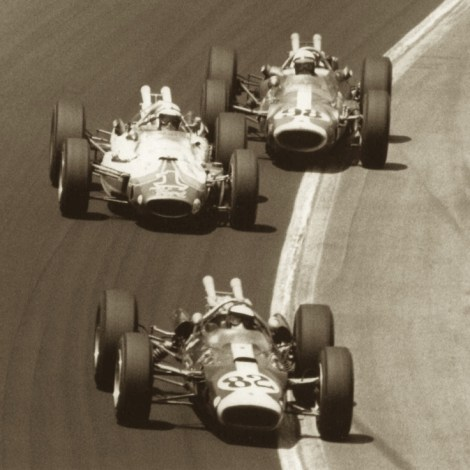 Jim Clark #82, A J Foyt #1 and Parnelli Jones #98