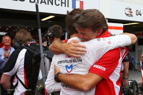 Jules Bianchi celebrates his and the team's first F1 points with Graeme Lowdon Chief Executive Officer. 25.05.2014. Formula 1 World Championship, Rd 6, Monaco Grand Prix, Monte Carlo, Monaco, Race Day.