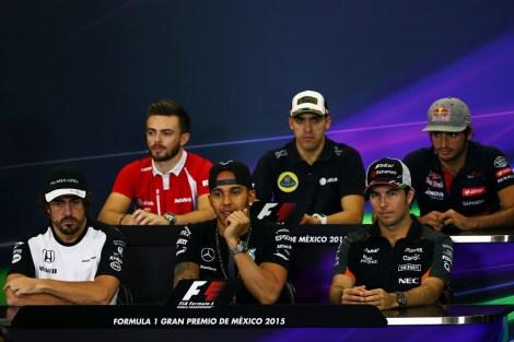The FIA Press Conference (from back row (L to R)): Will Stevens (GBR) Manor Marussia F1 Team; Pastor Maldonado (VEN) Lotus F1 Team; Carlos Sainz Jr (ESP) Scuderia Toro Rosso; Fernando Alonso (ESP) McLaren; Lewis Hamilton (GBR) Mercedes AMG F1; Sergio Perez (MEX) Sahara Force India F1.  Mexican Grand Prix, Thursday 29th October 2015. Mexico City, Mexico.