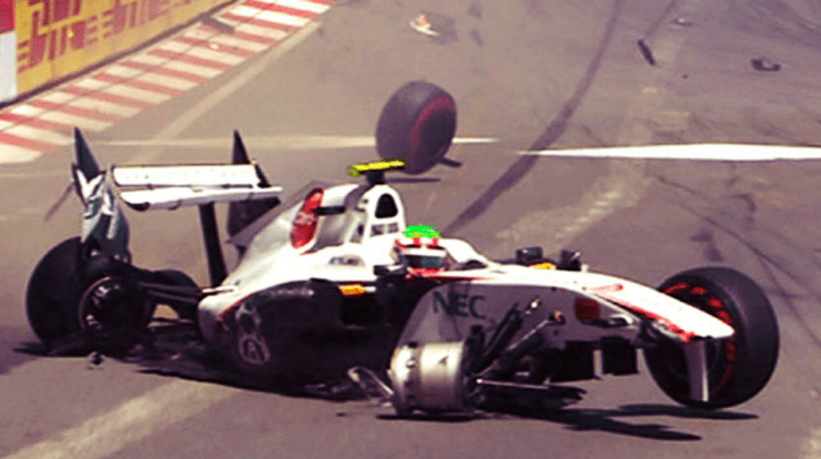 perez has a big accident in monaco 2012