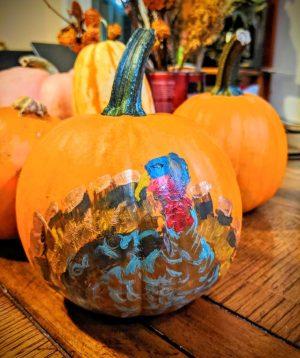 Turkey painted on a pumpkin