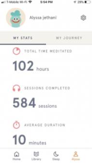 Headspace tracker screenshot - meditation
