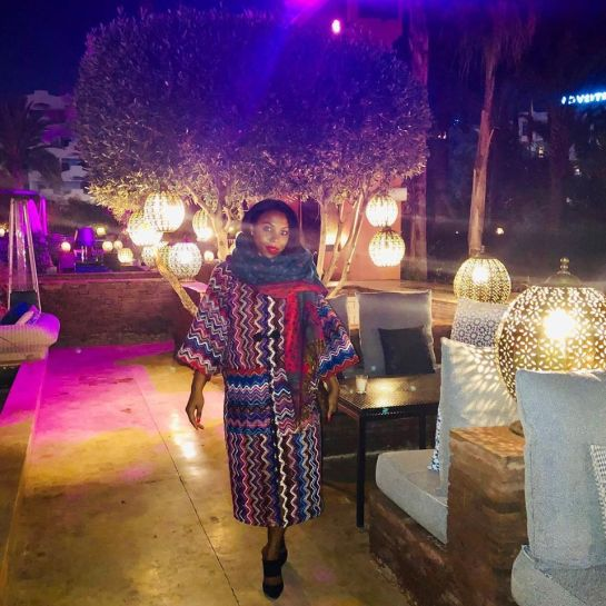 Mena in Marrakech (where she also purchased that amazing coat!)