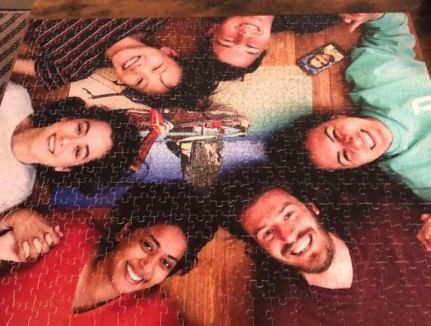 I get together with my friends from college who live in California once a year. Last time we puzzled and took a pic of our completed (triumph!) puzzle and turned that into a puzzle (yes, dorky). It's now turning into a bit of a tradition...