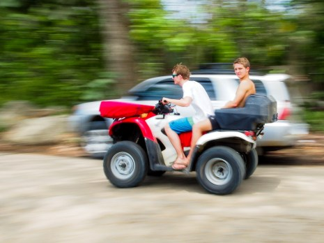 Zipping around on ATVs was the way to go for most.