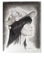 """Girl with Hat"" Charcoal Portrait by Conor Broderick"