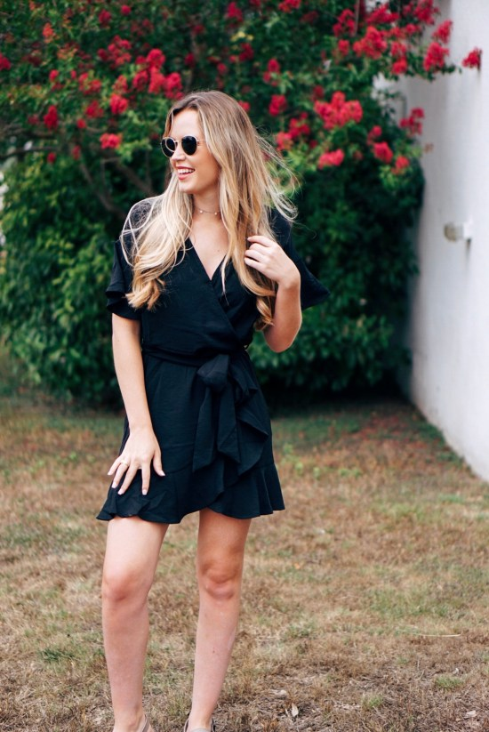 Black Ruffle Dress with Tie Summer Flowers Leather Fossil Purse Handbag Perfect Casual Summer Outfit with dainty jewlery summer outfit inspiration