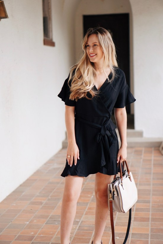 Black Ruffle Wrap Dress perfect for summertime summer outfit with fossil handbag wavy balayage boho summer outfit