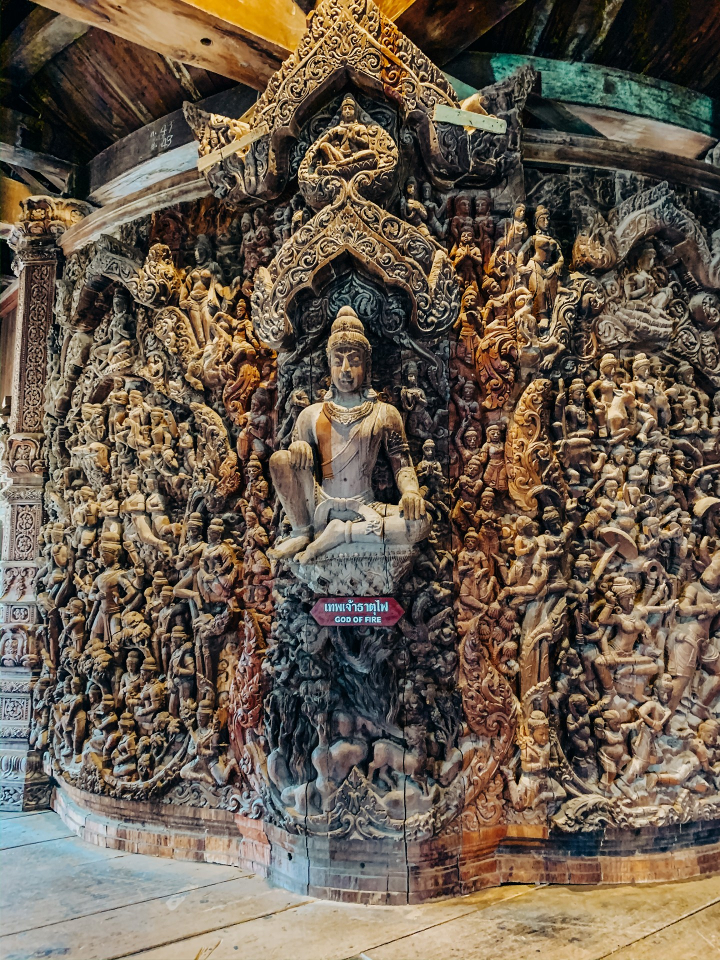 Ornate wood carvings in the Sanctuary of Truth, Pattaya