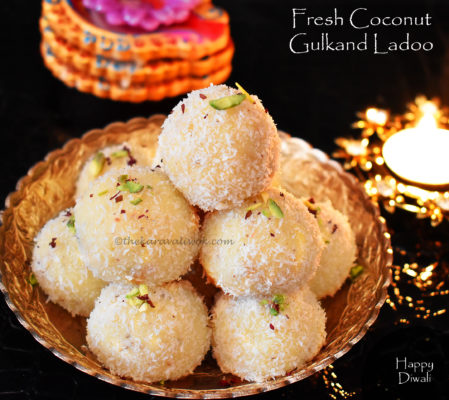 Fresh Coconut Gulkand Ladoo – step by step pics
