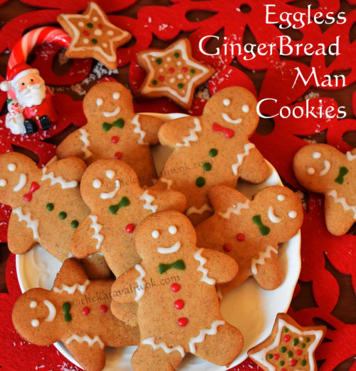 Eggless Gingerbread Man Cookies Recipe without Molasses | Christmas cookies