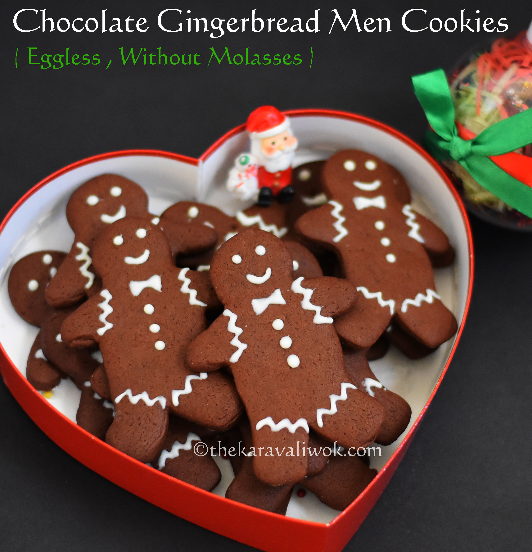 Eggless Chocolate Gingerbread Men Cookies Without Molasses