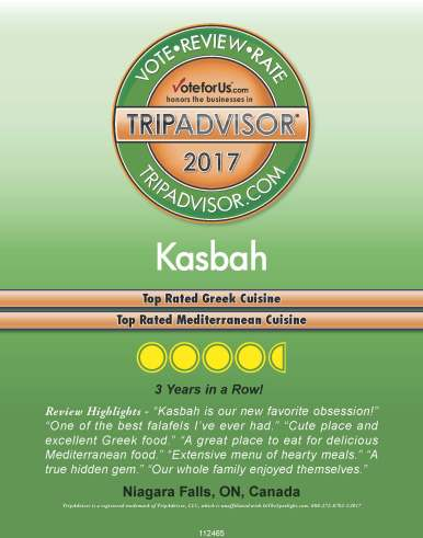 TripAdvisor 2017 award, best Greek food in Niagara, best Mediterranean food in Niagara, Greek restaurant in Niagara Falls