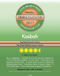 TripAdvisor 2017 award, best Greek food in Niagara, best Mediterranean food in Niagara, Greek restaurant in Niagara Falls